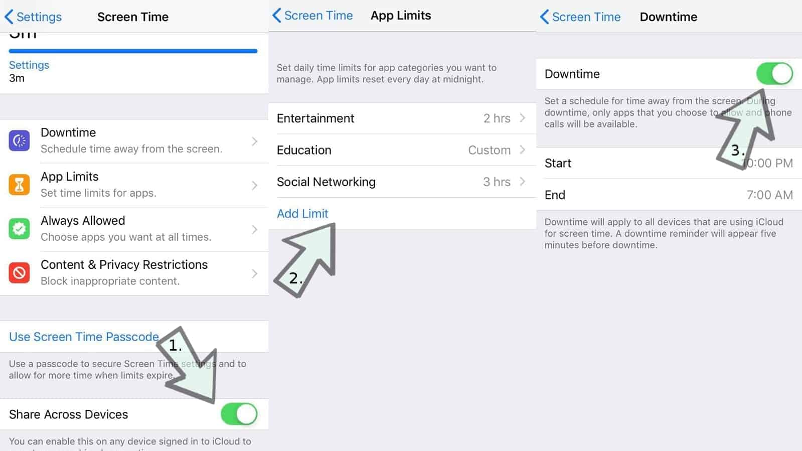 Steps to set app limits and downtime in Screen Time iOS 12