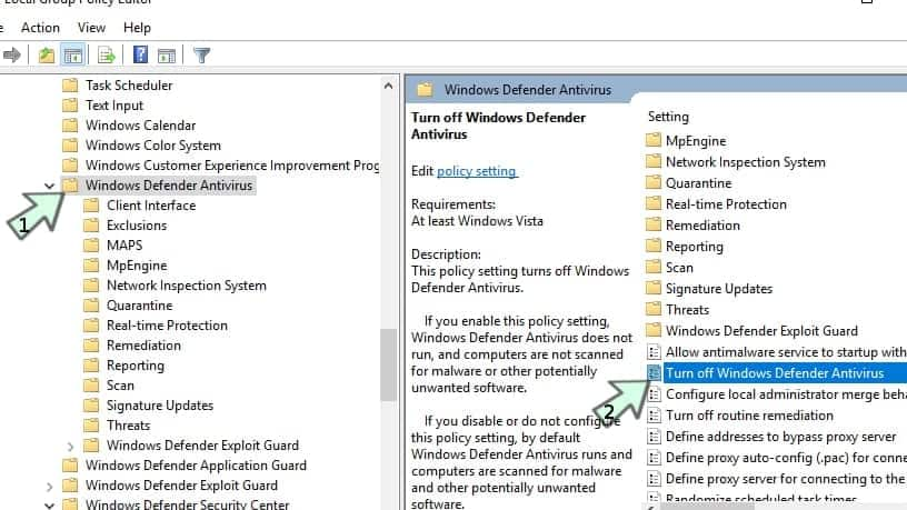 Turning off Windows Defender via Policy Center