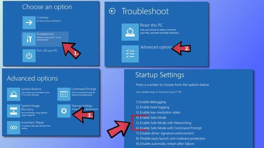 Boot in Safe Mode via Troubleshooting options in Windows