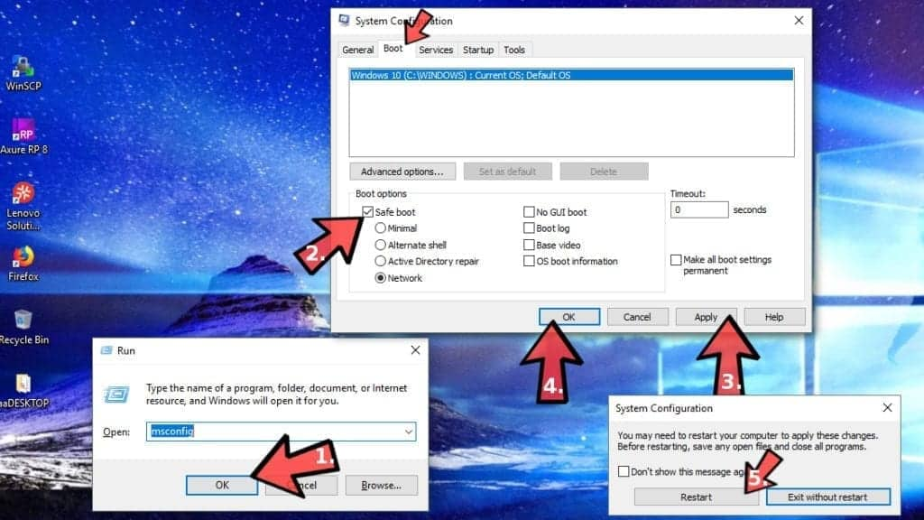 Start Windows in Safe Mode via msconfig