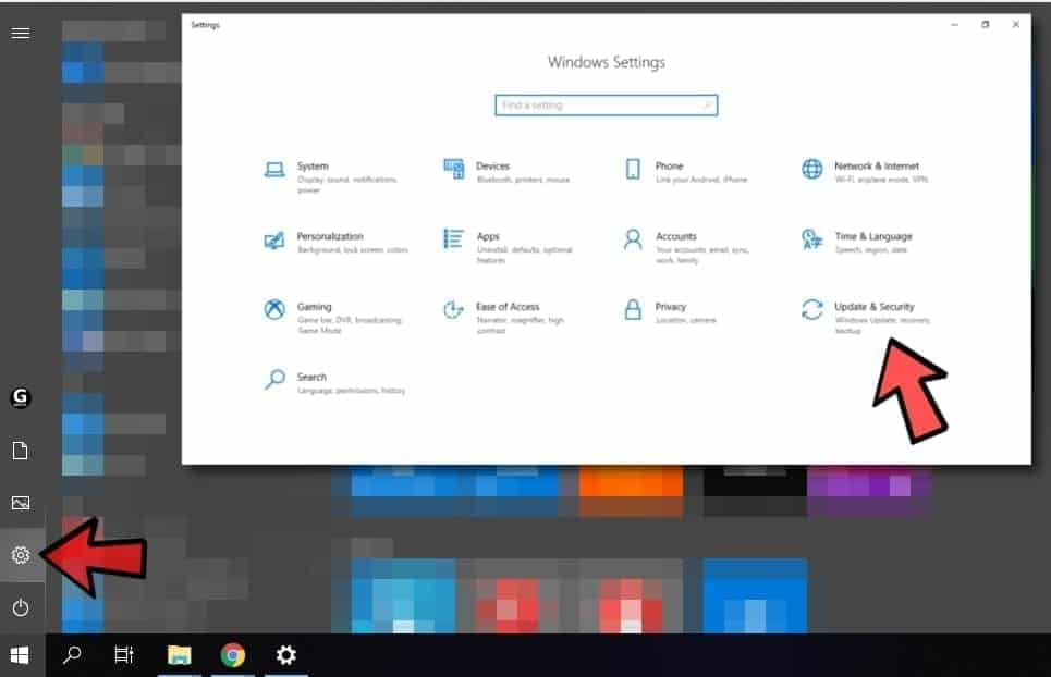 Update and Security Settings in Windows