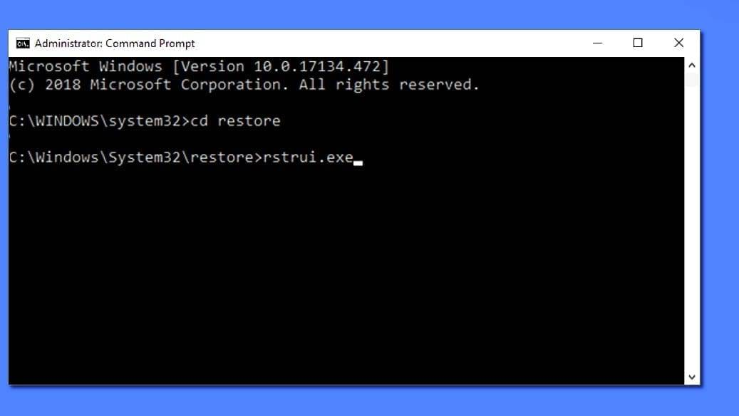 Start system restore from command prompt using these commands