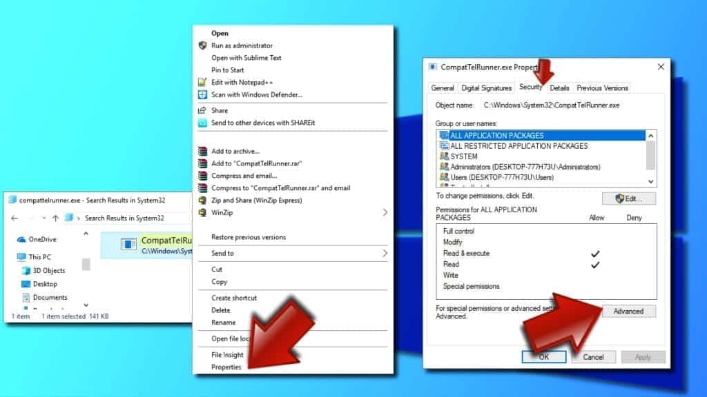 Open Security Tab and Advanced Settings for CompatTelRunner.exe file