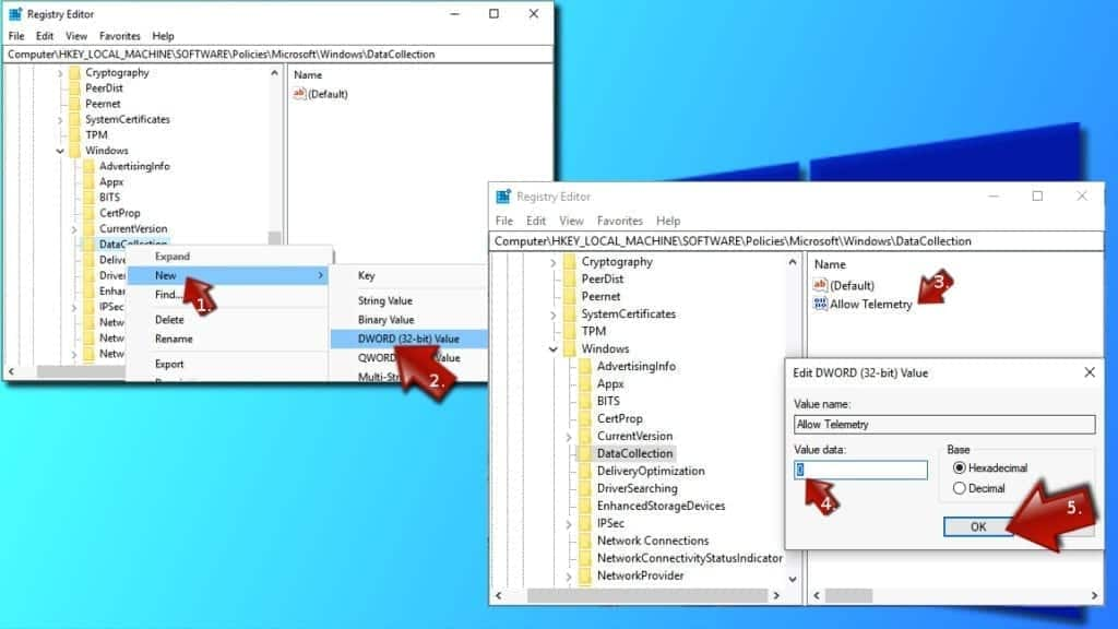 Using Windows Registry to disable Microsoft Compatibility Telemetry