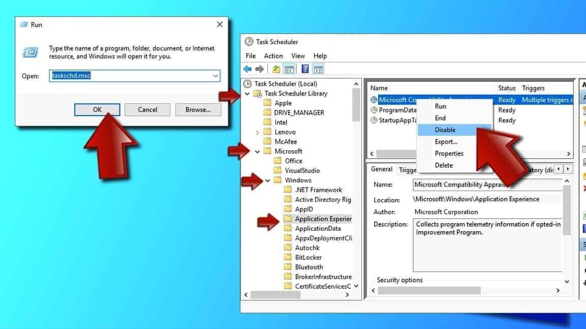 Disable Microsoft Compatibility Appraiser via Task Scheduler