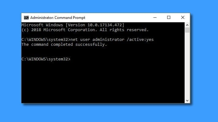 Enable Administrator account visibility via cmd command