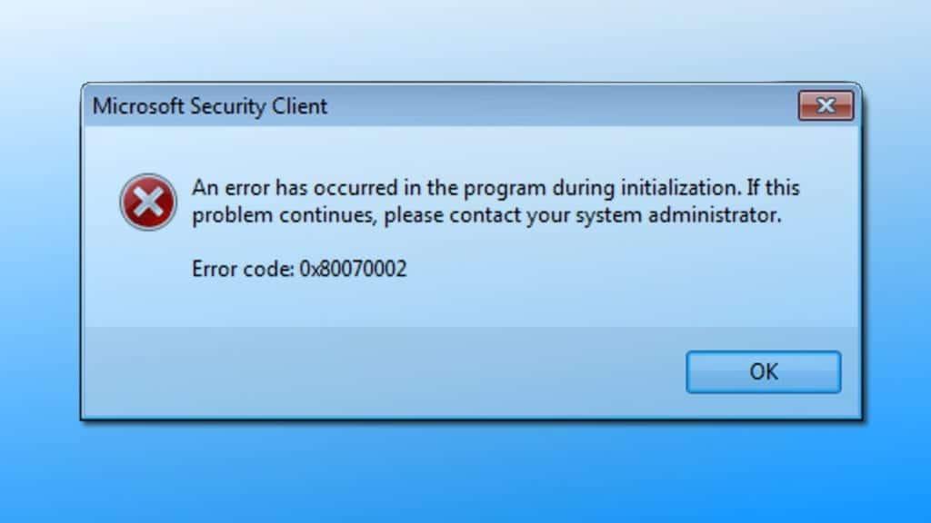 Microsoft Security Client Error 0x80070002
