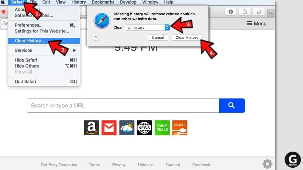 how to reset safari