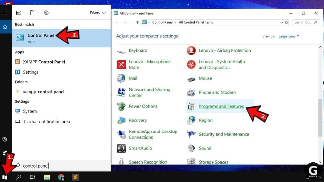 How to launch Programs and Features in Windows 10,8.1,8