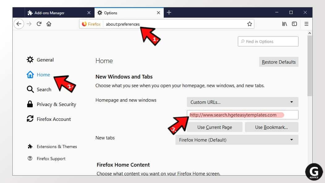 change firefox homepage altered by the unwanted program