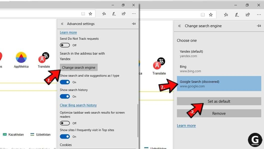 change default search in ms edge