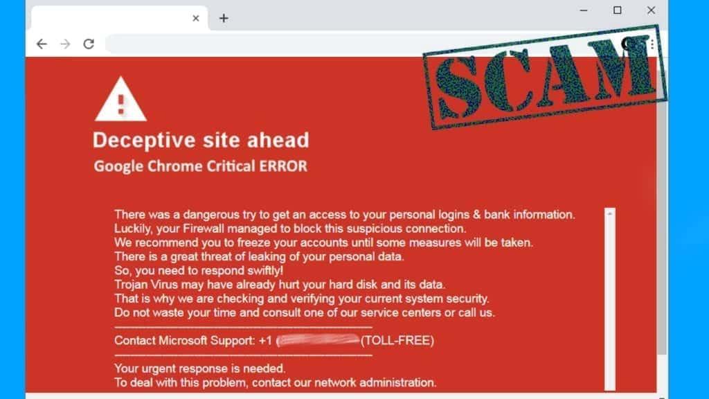 fake deceptive site ahead warning