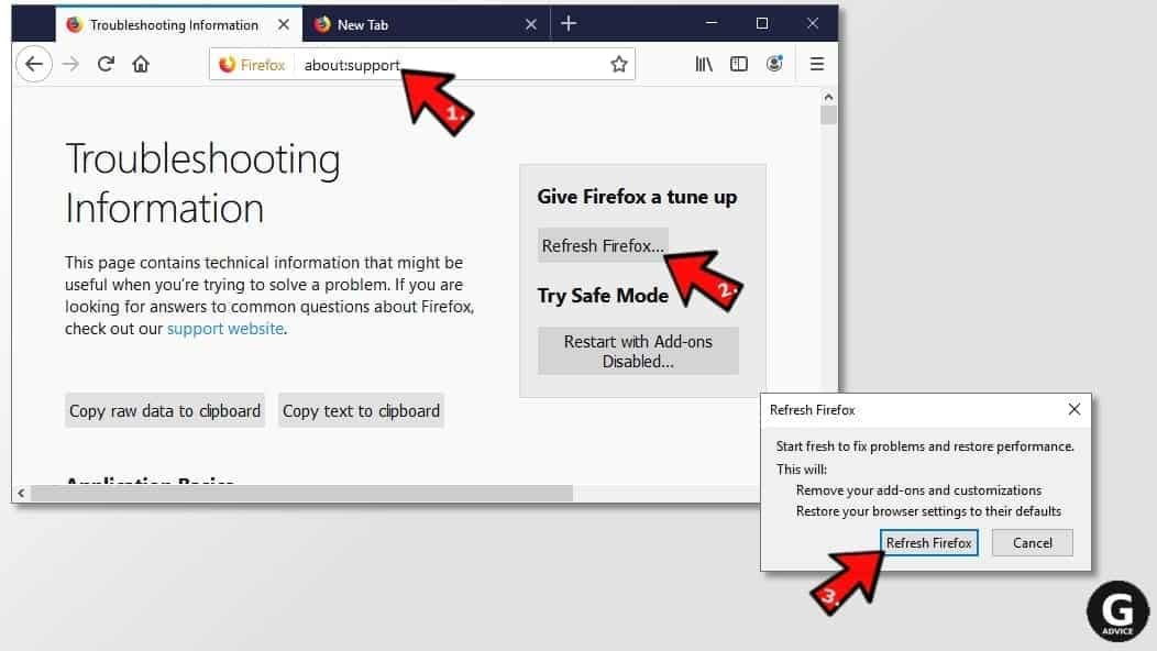 how to reset firefox browser