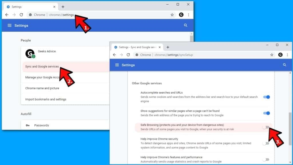 how to turn off safe browsing feature in chrome