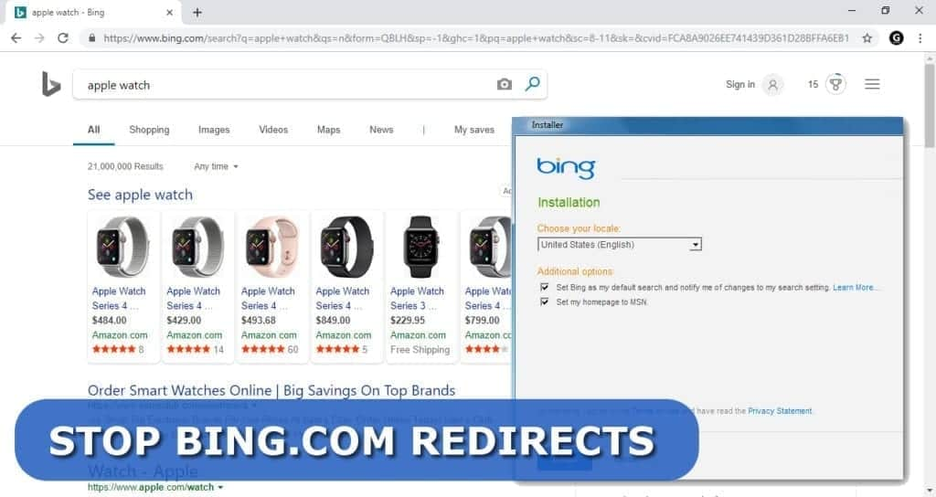 bing.com redirect problem