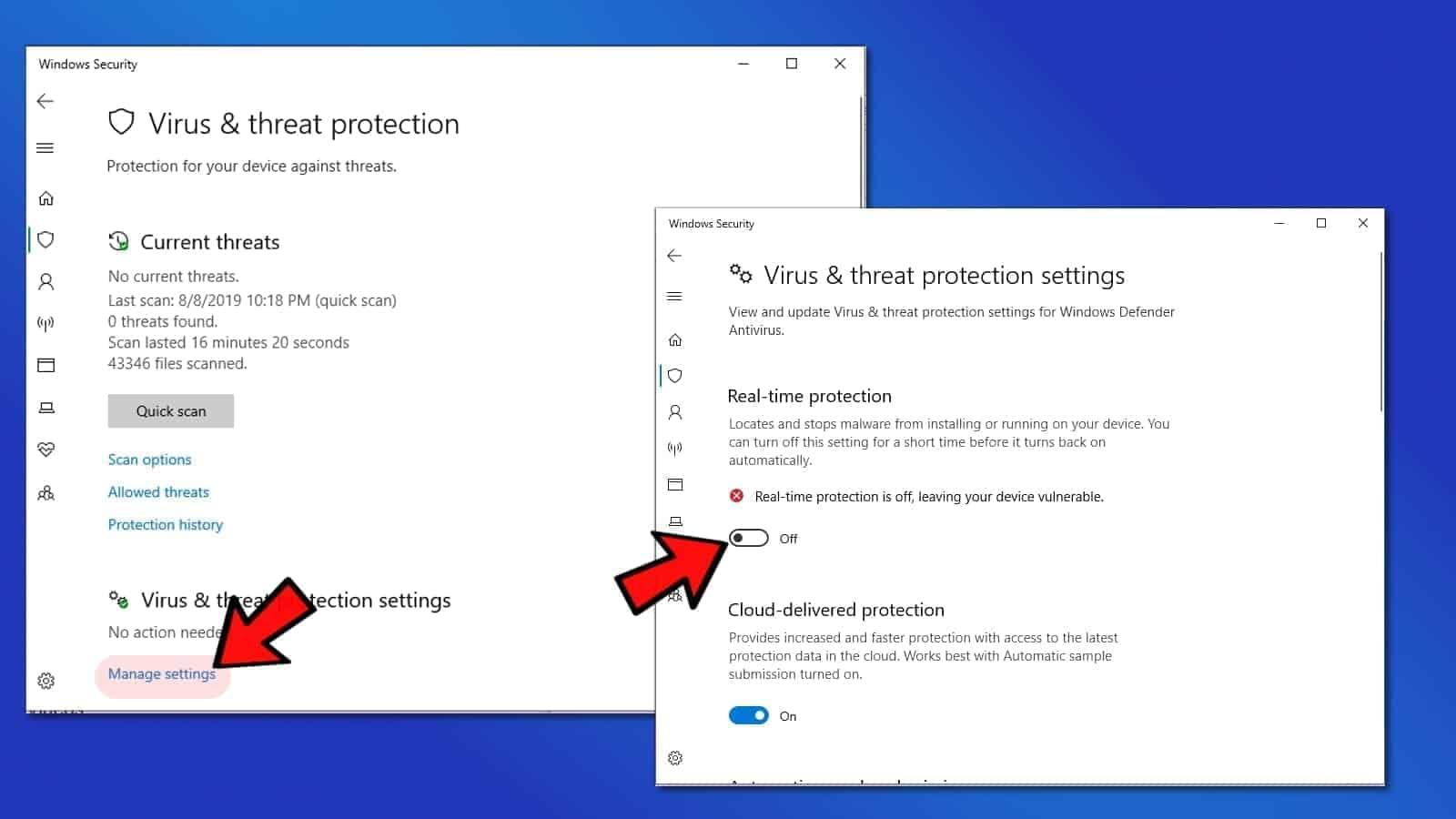 Turn off Windows Defender to fix Video Scheduler Internal Error