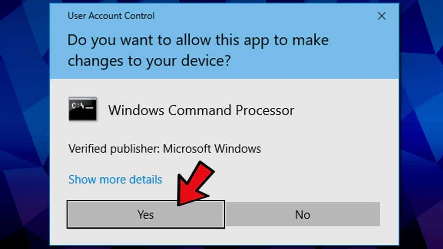 In user account control for cmd, click yes