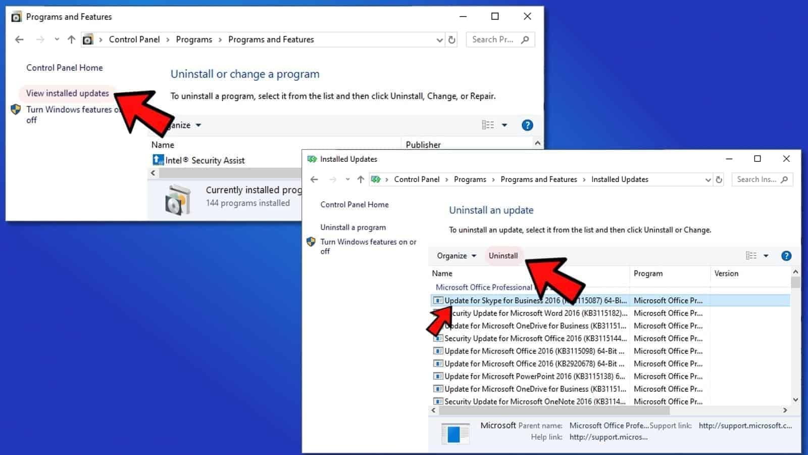 Uninstall recent Windows Updates