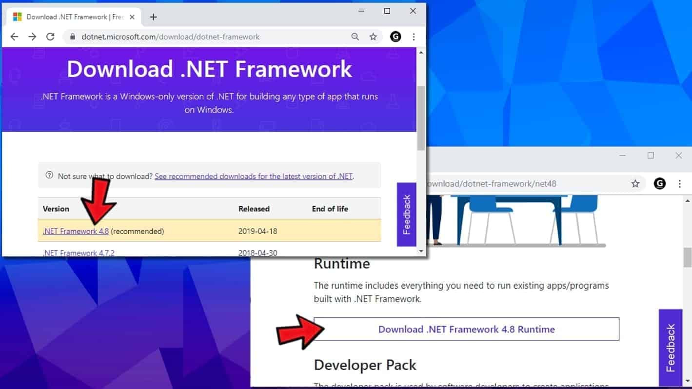download the latest net framework version from microsoft website