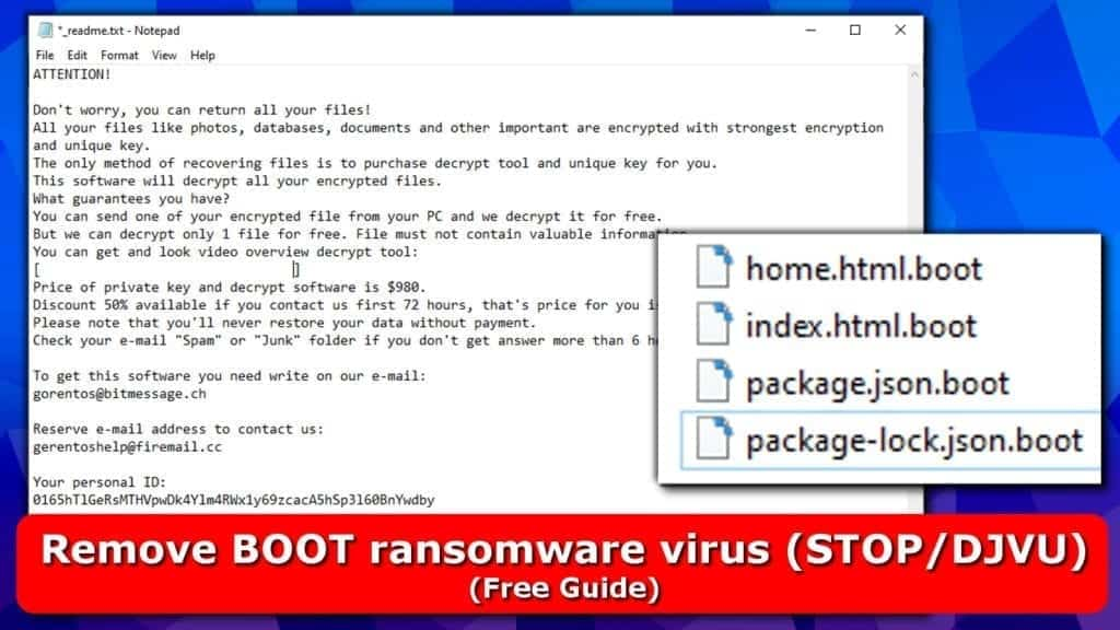 remove boot ransomware virus from stop djvu family