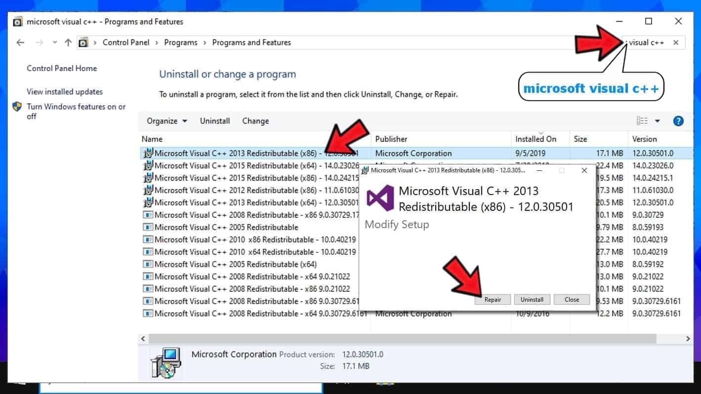 repair microsoft visual c++ redistributable packages to fix the application was unable to start correctly