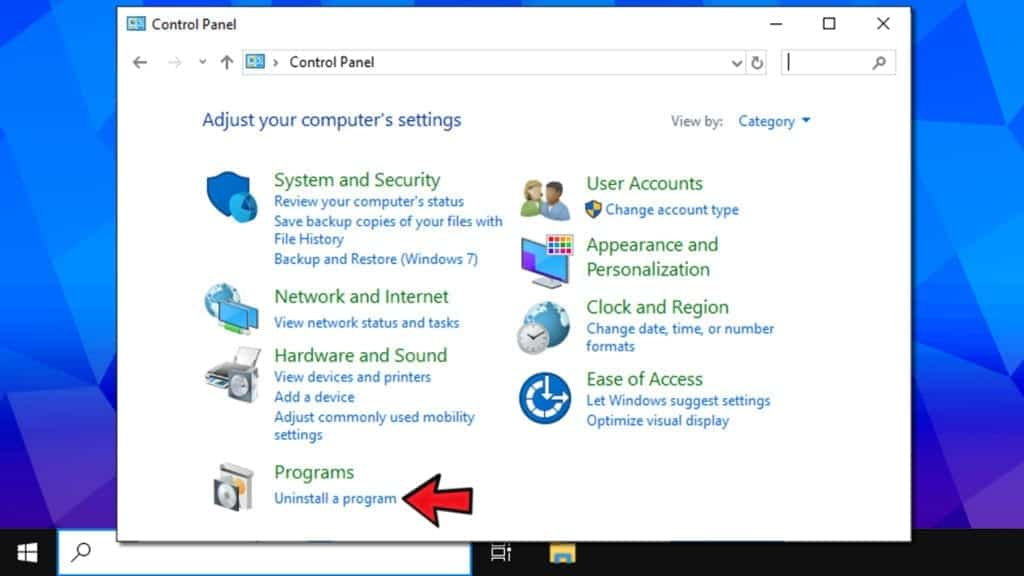 uninstall a program section in control panel
