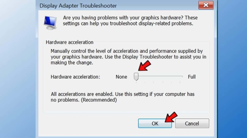 disable hardware acceleration in windows 8,7,vista