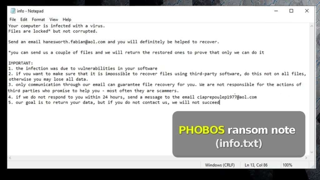 the info.txt file by phobos ransomware