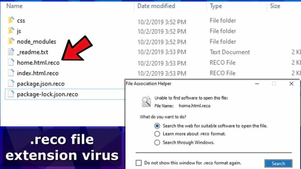 reco file extension files encrypted by stop djvu virus