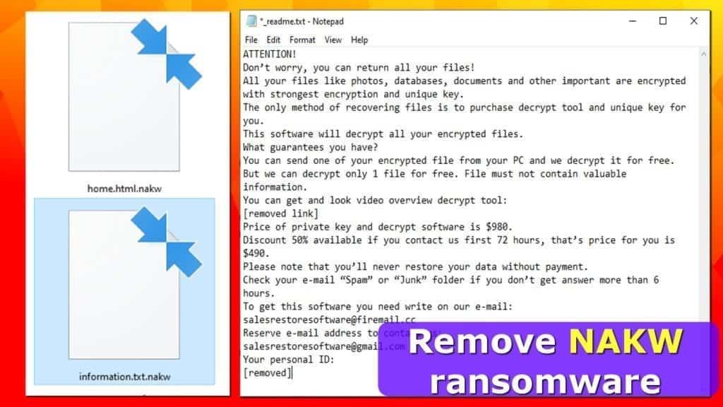 nakw ransomware virus encrypts files and demands money