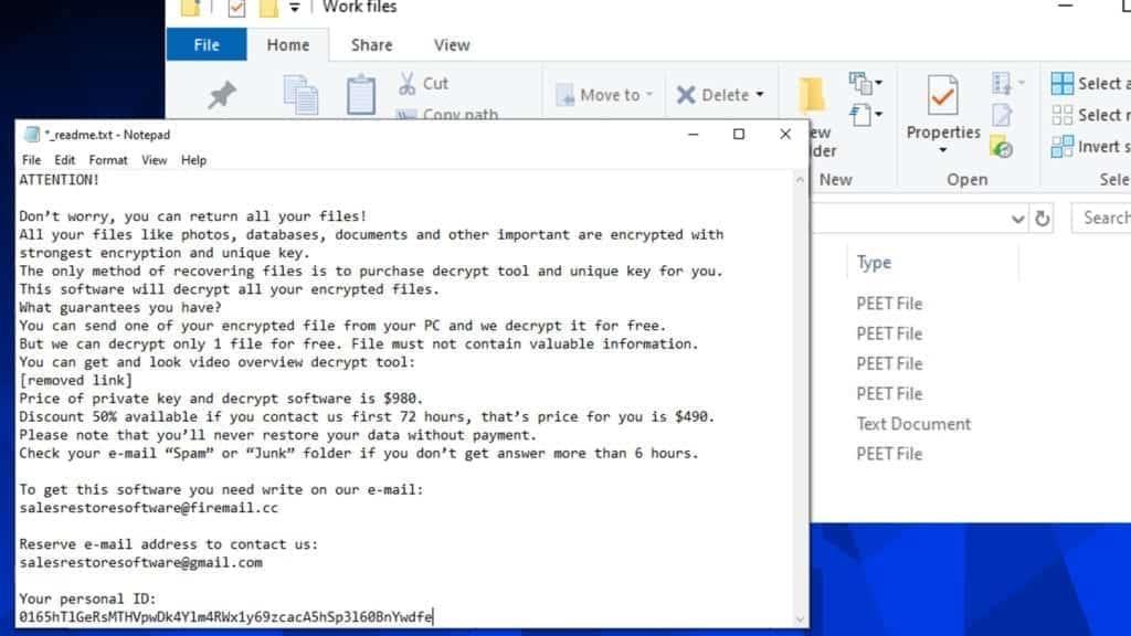 screenshot of the peet ransomware ransom note