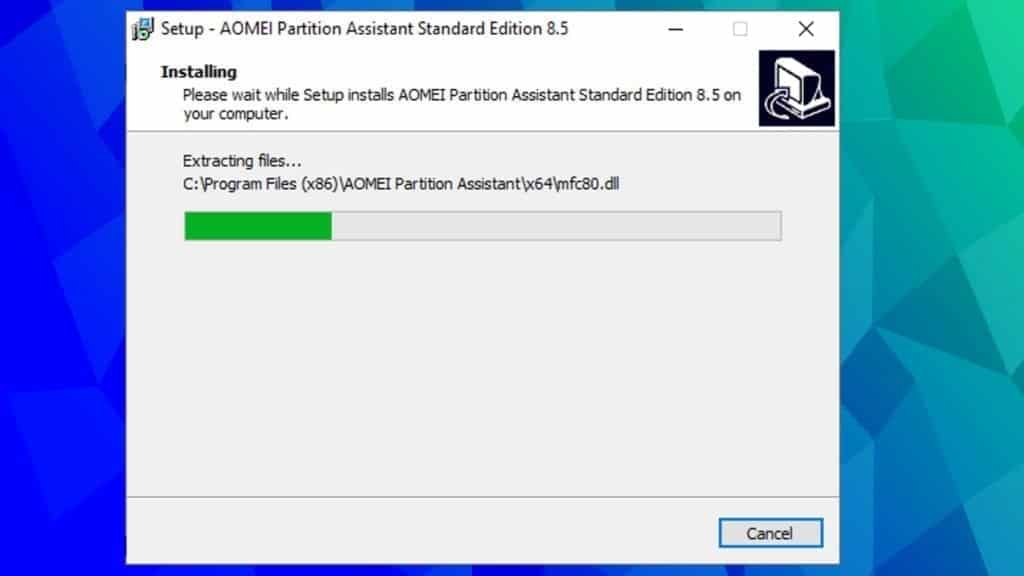 installation of aomei partition assistant