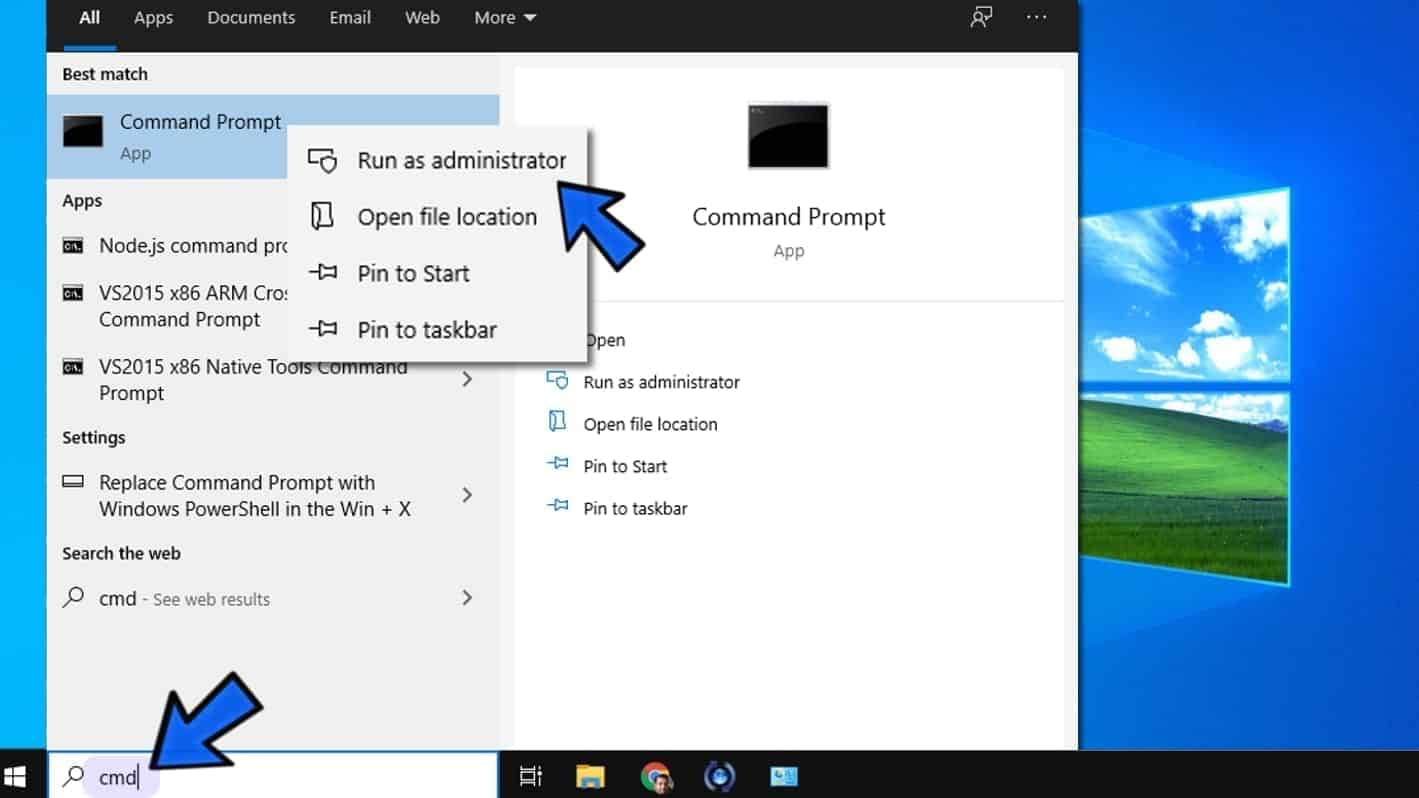 open command prompt as admin on windows