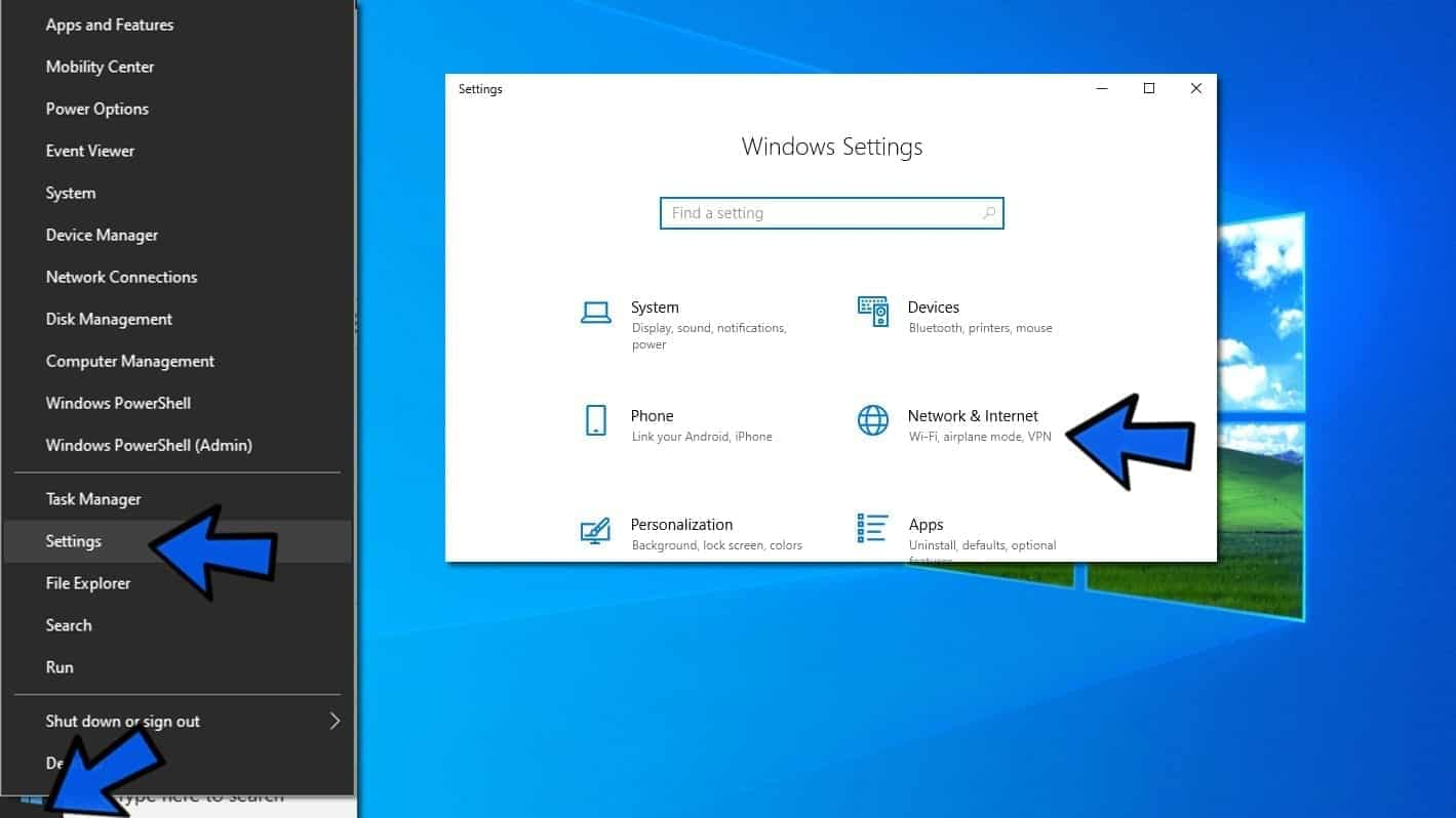 open network settings in windows