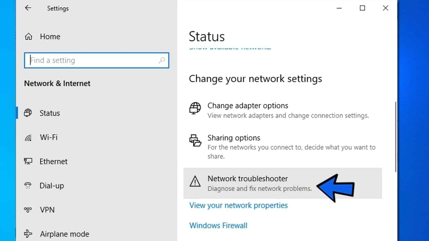 open network troubleshooter to fix err_name_not_resolved error
