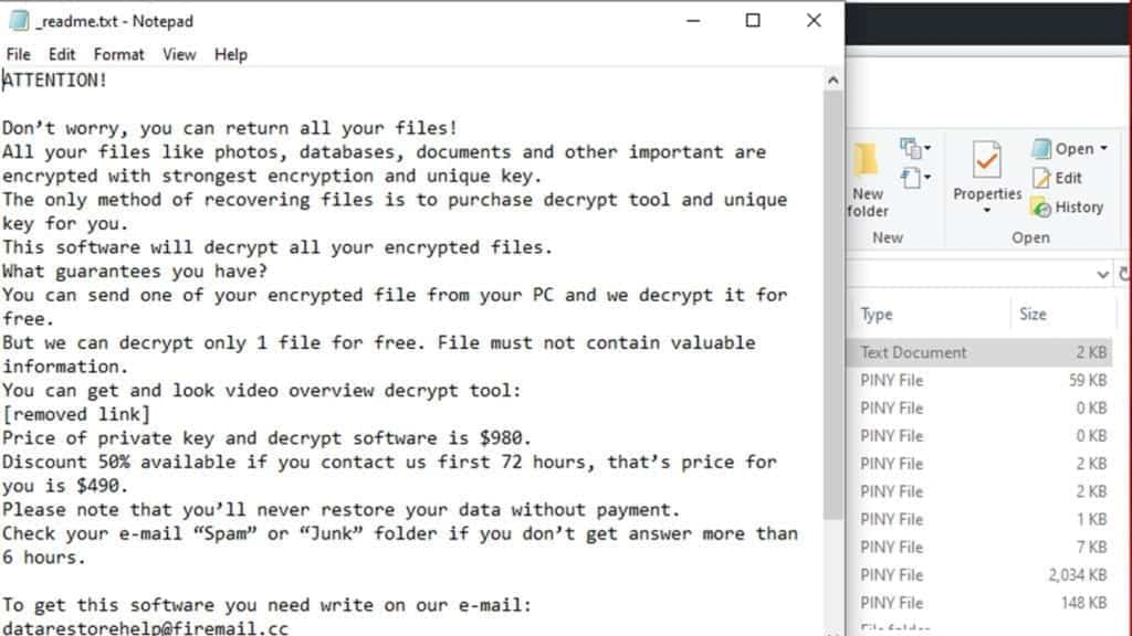 piny ransomware leaves money-demanding note