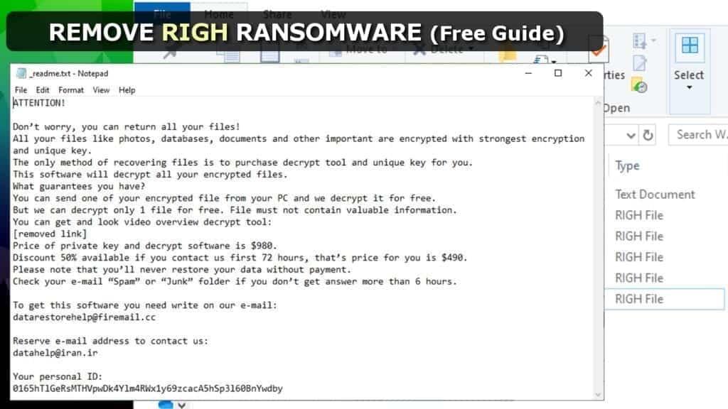 remove righ ransomware virus