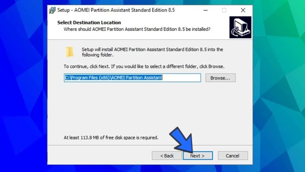 choose installation location for aomei partition assistant