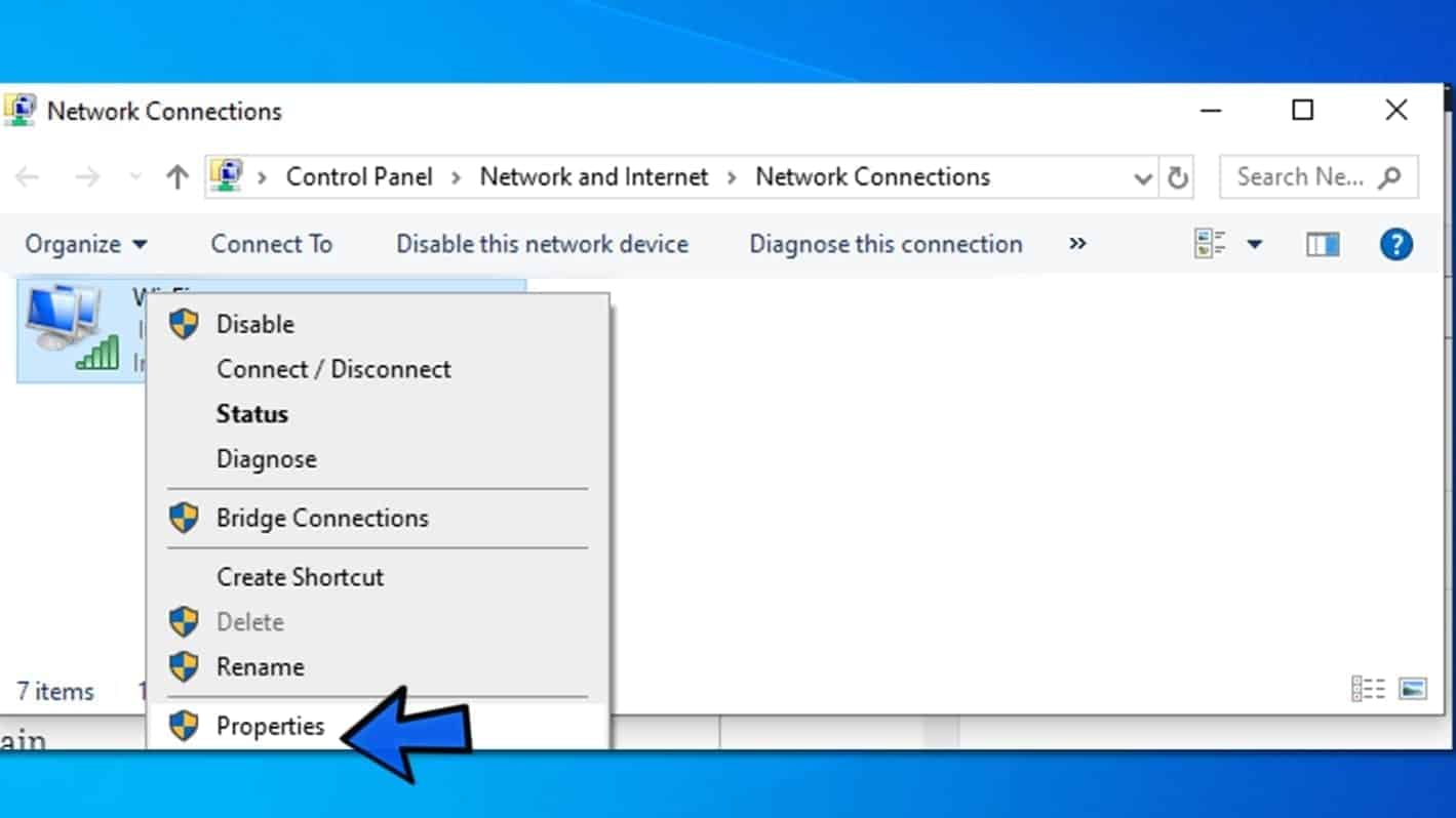 view active network connection properties