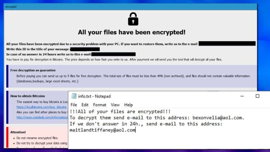 ransom notes left by dever ransomware virus