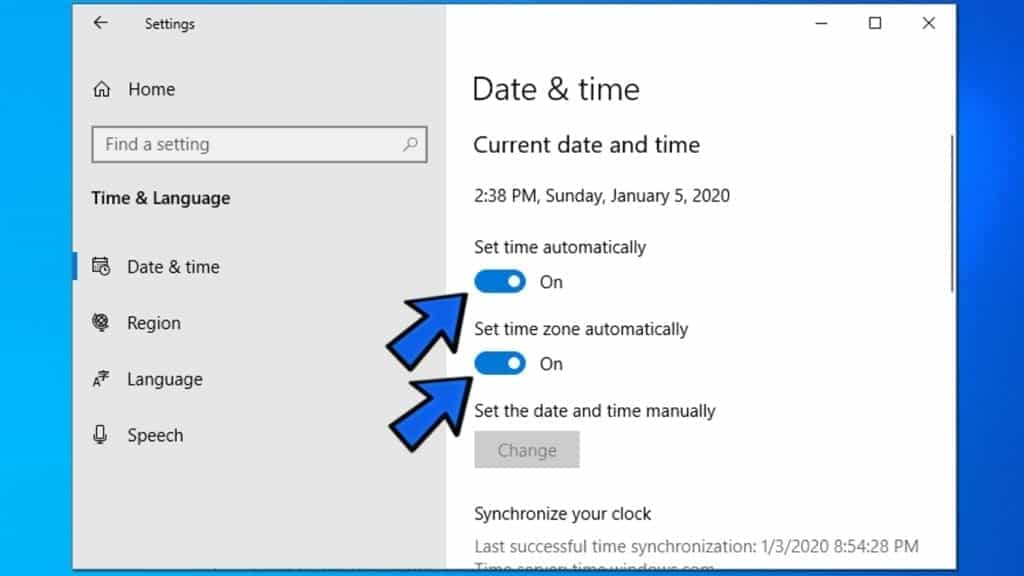 set time and time zone automatically on windows
