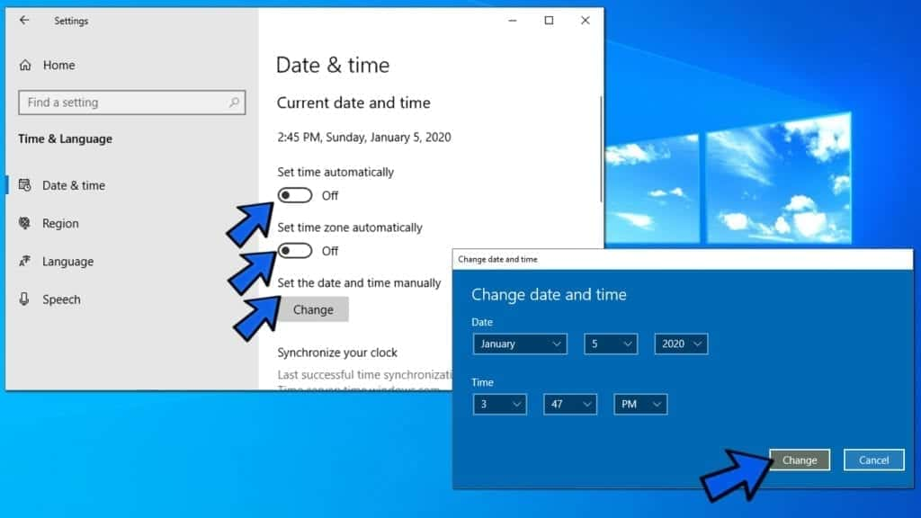 set time and time zone manually on windows