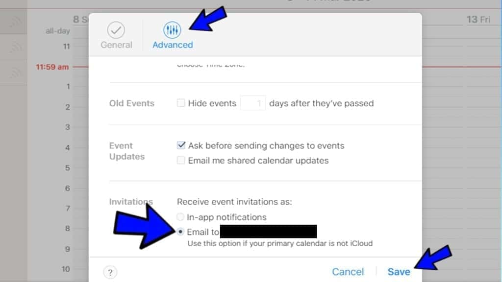 change calendar invitations settings to remove iphone calendar virus spam from appearing