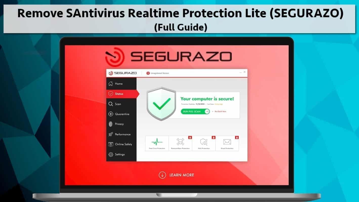Remove SAntivirus Realtime Protection Lite (SEGURAZO ...